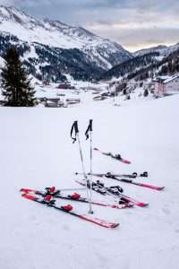 Skis and Poles on Ground