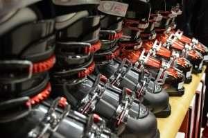 Shelf of ski boots