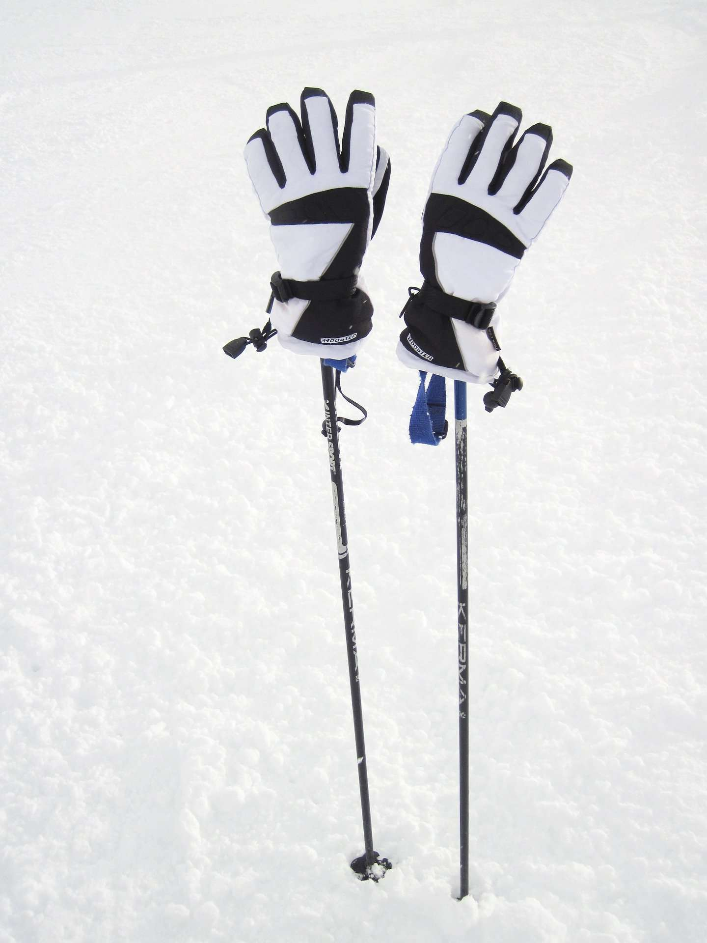 Pair of white gloves resting on ski poles