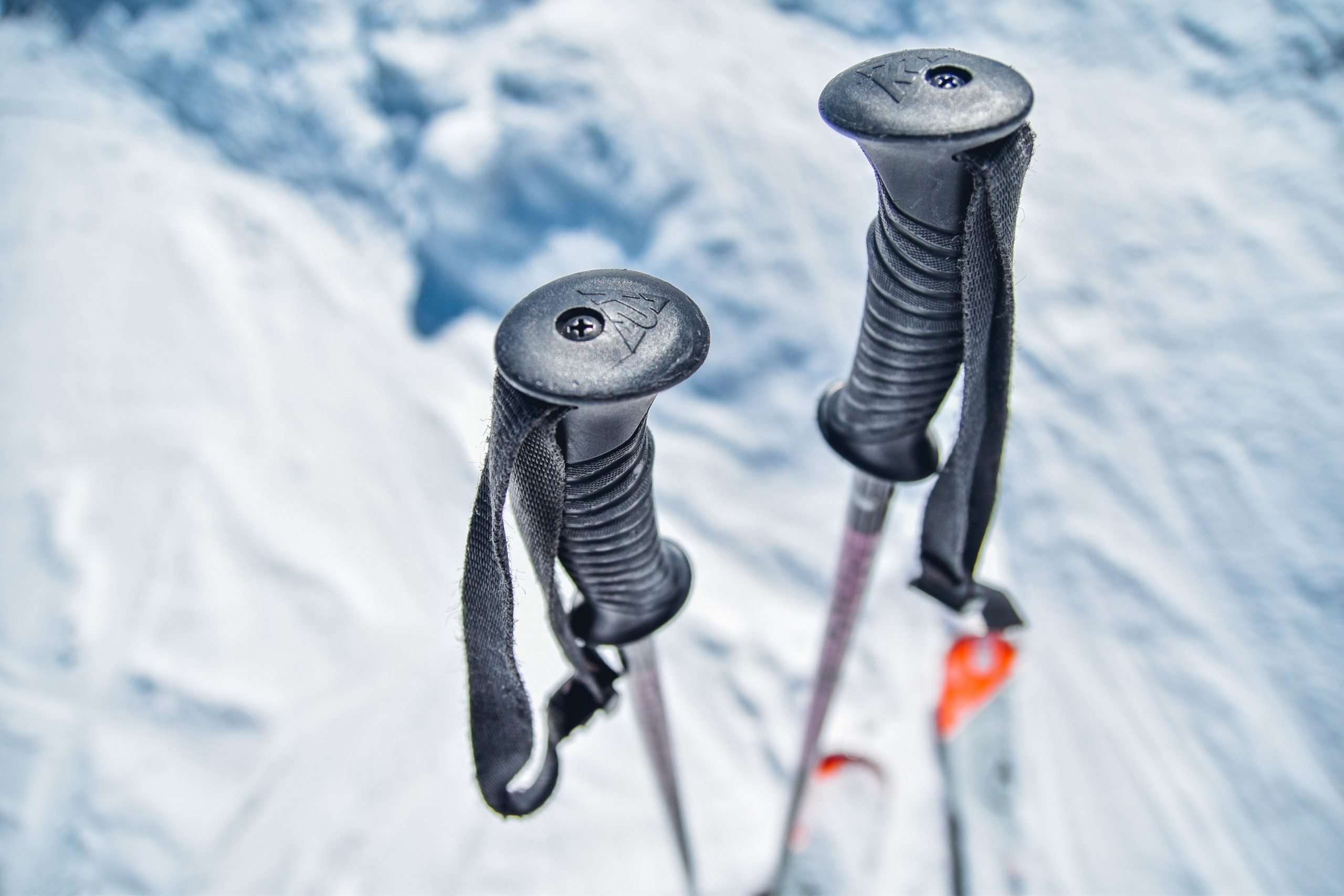Close up shot of pair of ski poles
