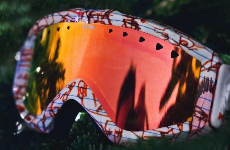 Close up shot of ski goggles