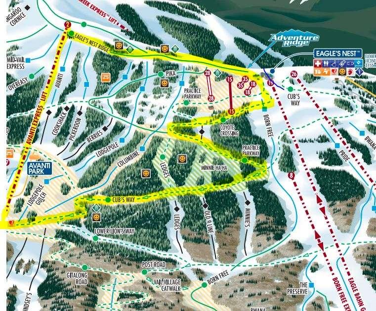highlighted beginner path on vail ski map