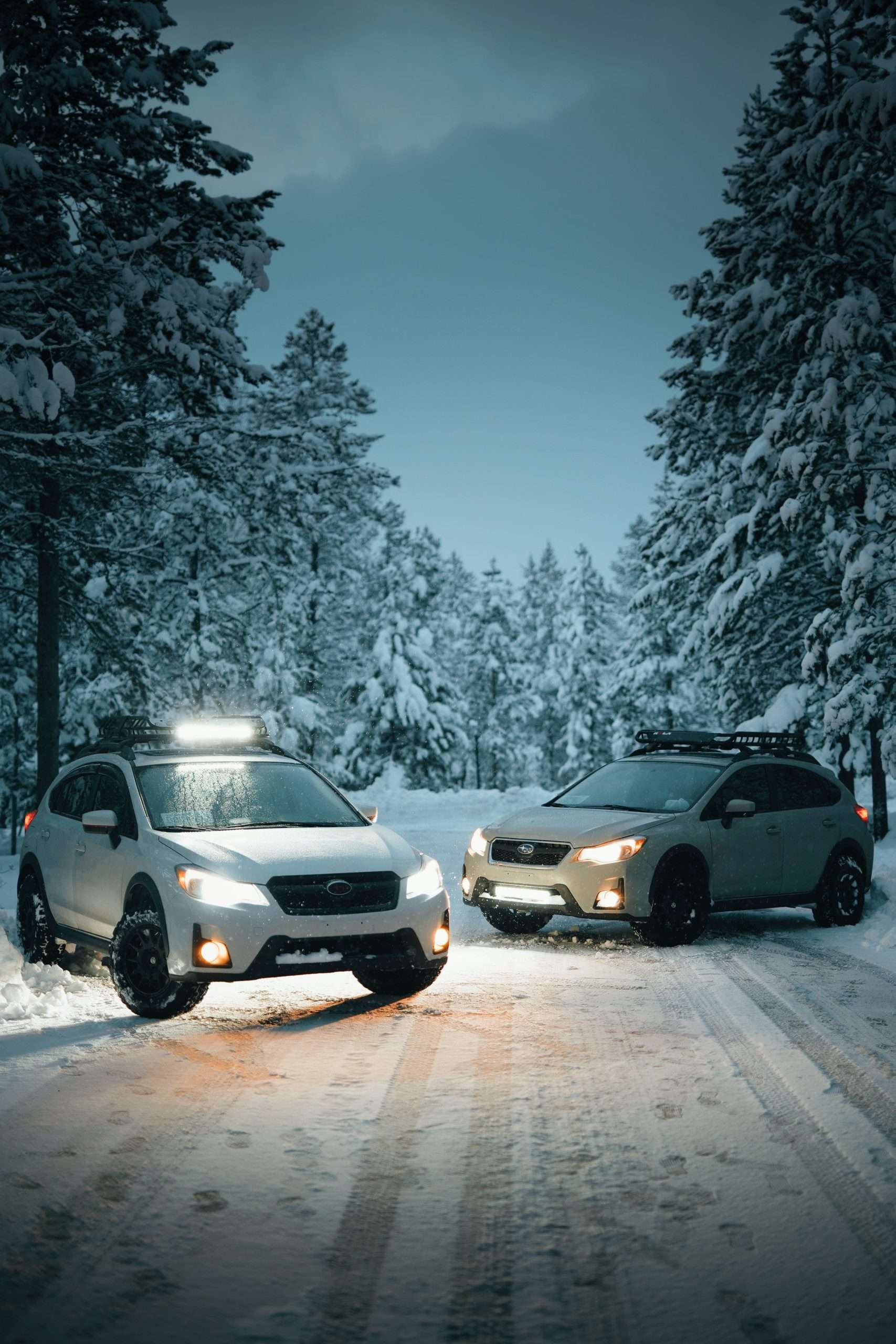 Two cars with ski racks