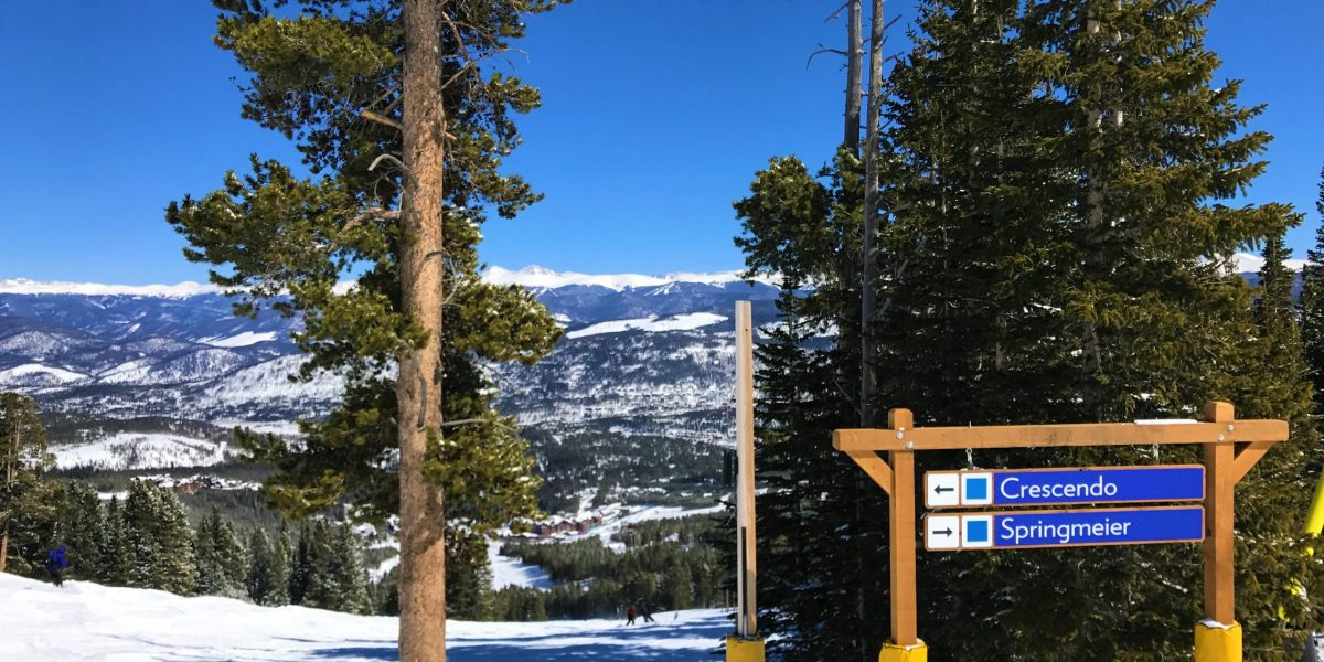 Signage for blue runs at Breckenridge