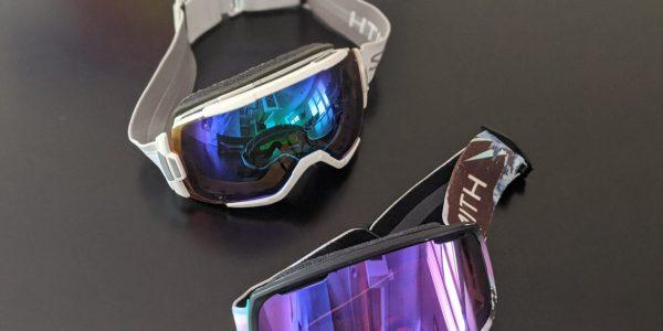 blue and purple reflective Smith ski goggles