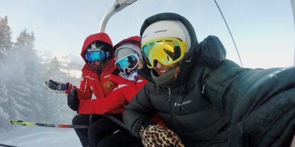 Three Skiers on Lift