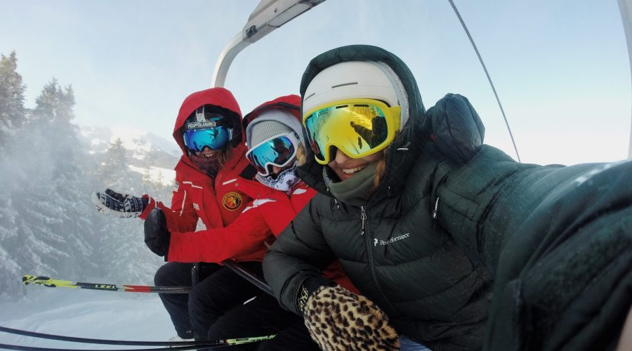 Three Skiers on Lift