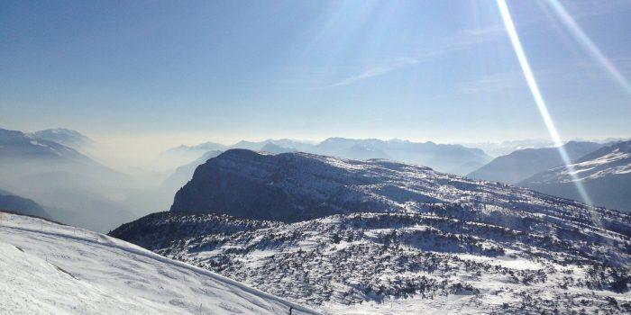 Sunny day on ski mountain